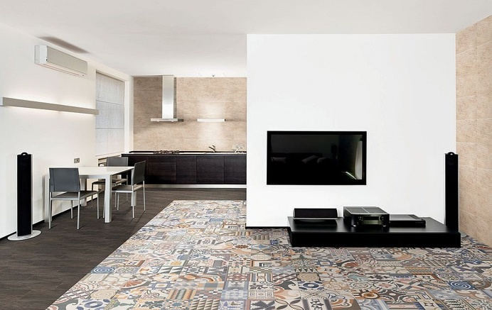Modern living room / open space with patchwork pavements #modern #livingroom #patchwork #pavements #soggiorno #moderno #pavimenti