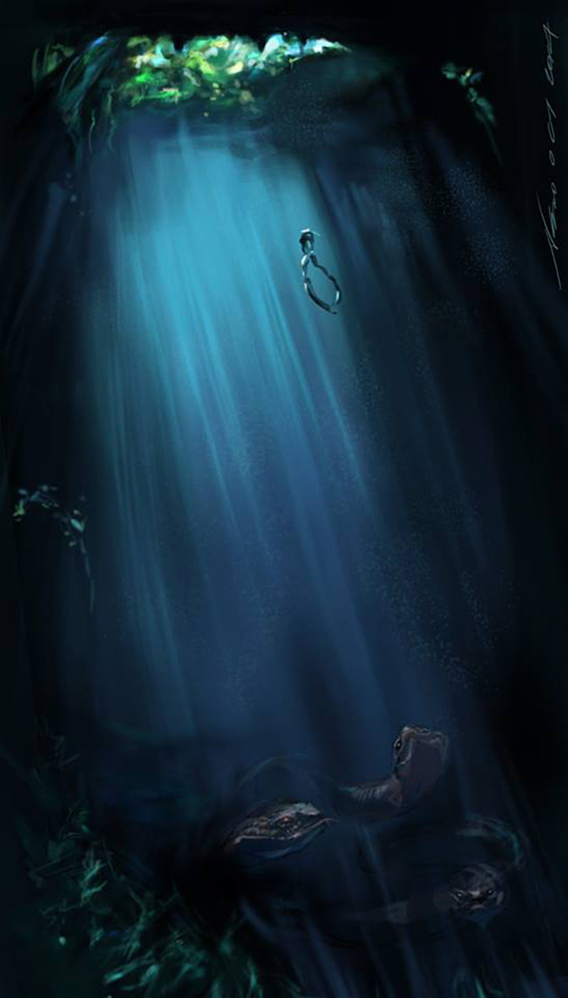 mystic cave :: The Incredible Photoshop Work of Norman Soo #submerged #exploration #dive #landscape #monsters #illustration #deep #art #rays #light #underwater