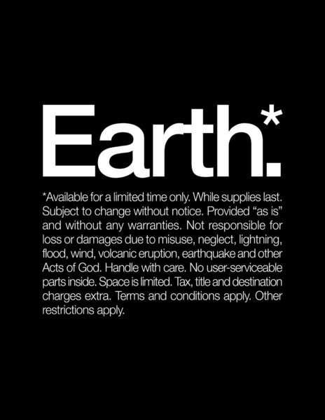 Earth.* Available for a limited time only. Art Print #earth #helvetica #poster #typography