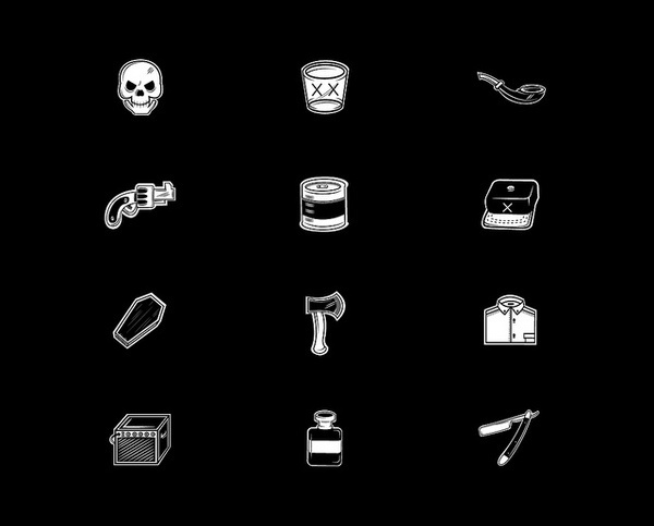 Dead Icons #weapons #bone #icons #black #illustration #stools #dead