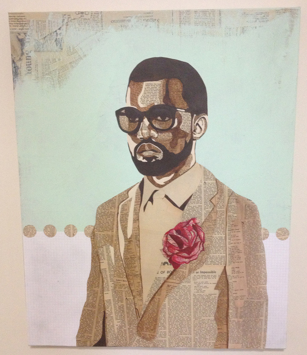 """""""Kanye T'da"""" 24"""" x 30"""" Acrylic and vintage NY Times newspaper on canvas. #acrylic #cut #kanye #newspaper #vintage #collage #paper"""