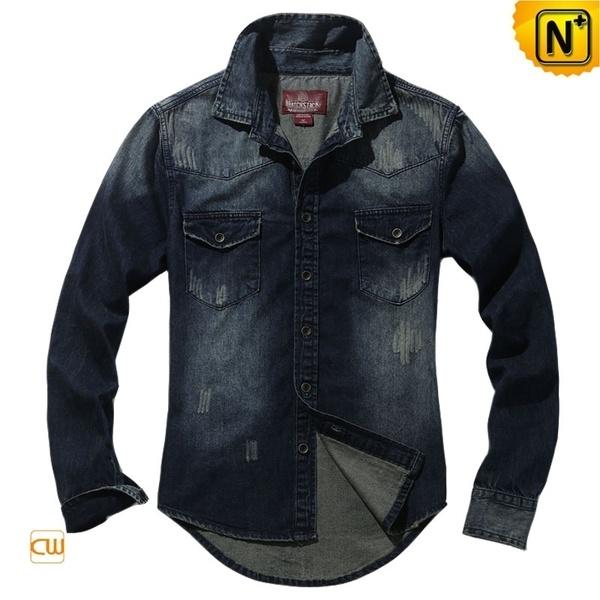 Retro Long Sleeve Denim Shirts for Men CW114301 #denim #mens #shirts