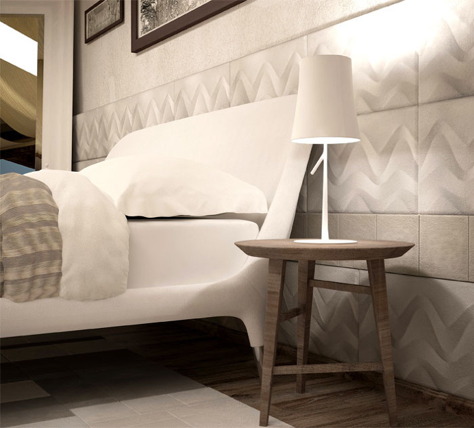 Leather Tiles That Wraps Gently the Bedroom - #bedroom, #interior, #decor, #floor,
