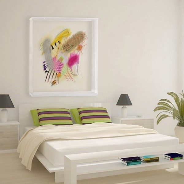 White Modern Bedroom With Abstract Painting Interior Paintings Decor Art