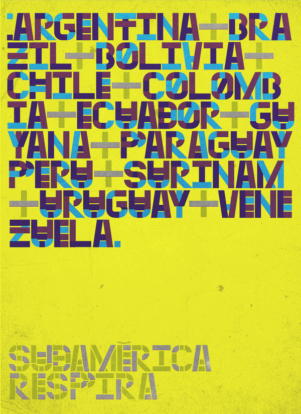 Sudamxc3xa9rica xe2x80x94Type #lettering #place #south #latin #america #colour #typography