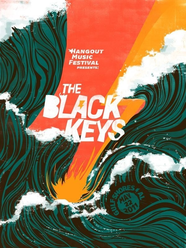 "The Black Keys ""Hangout Music Festival"" Poster by Jose Berrio #design #graphic #typography"