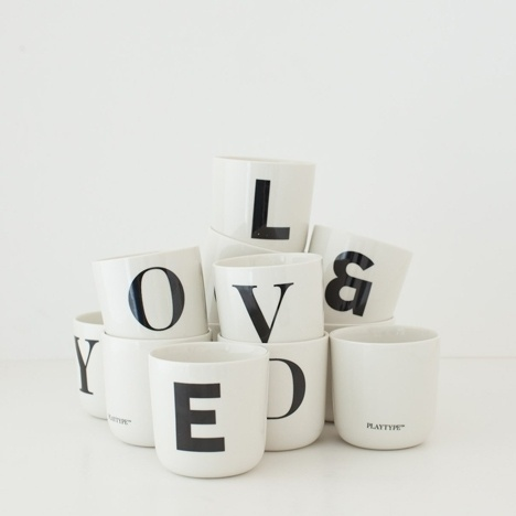 Dezeen » Blog Archive » Playtype foundry and concept store by e-Types #mugs #cups #typography