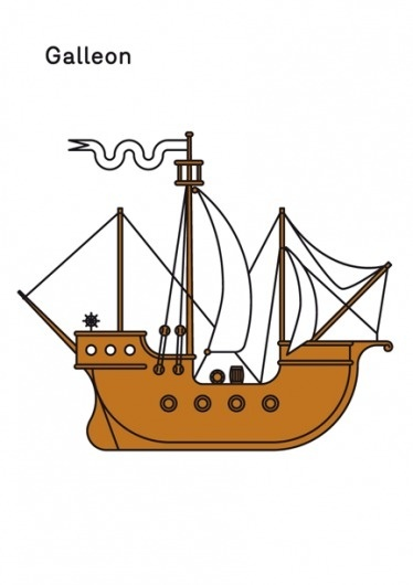 Print-Process / Product / Galleon #illustration #boat #poster