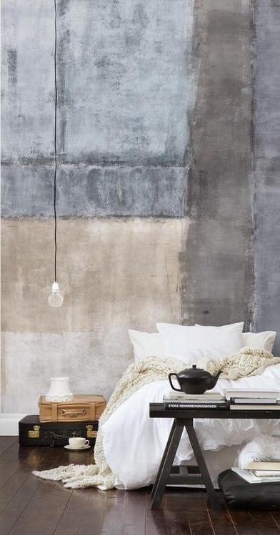 remain simple. #interior #design #living #bedroom #bed #conrete