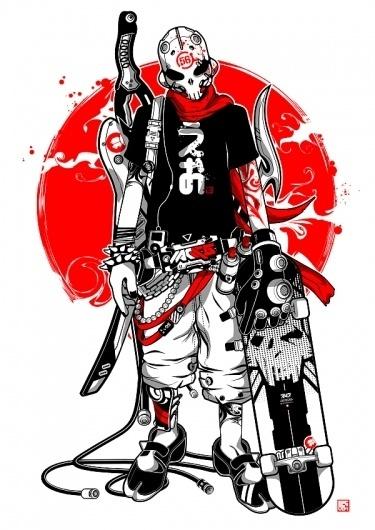 bone head. by ~machine56 #vector #red #machine #56 #skateboard #skull