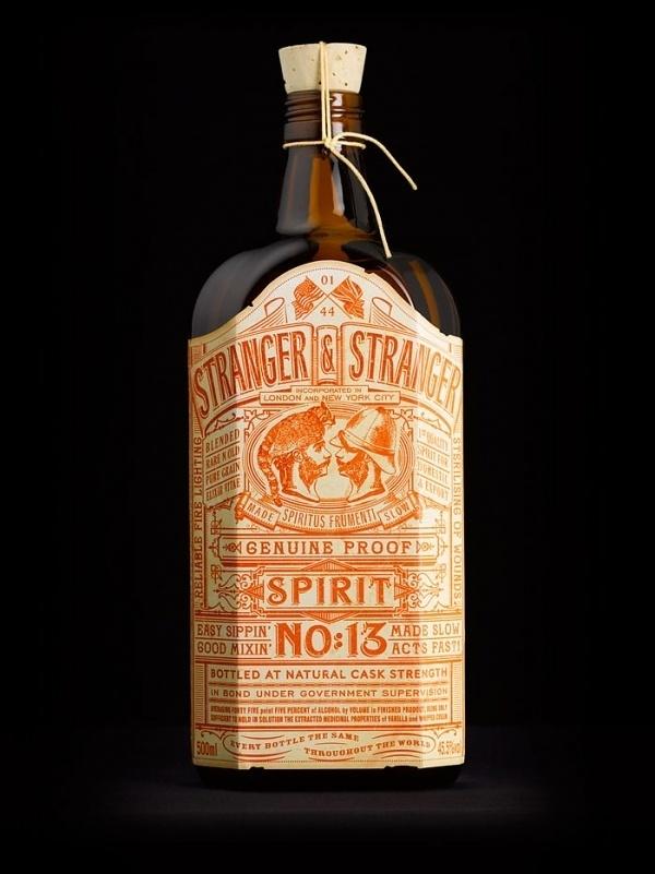 Stranger & Stranger Spirit No.13 Alcohol Bottle Packaging #bottle #packaging #design #type #booze #typography #alcohol