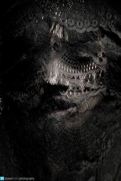 L.SHIMA #model #pattern #black #portrait #mask #veil #face