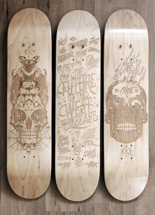 Laser Etched Skateboard Series 2013 by Malte Schweers #handcrafted #lettering #design #graphic #quality #technical #typography