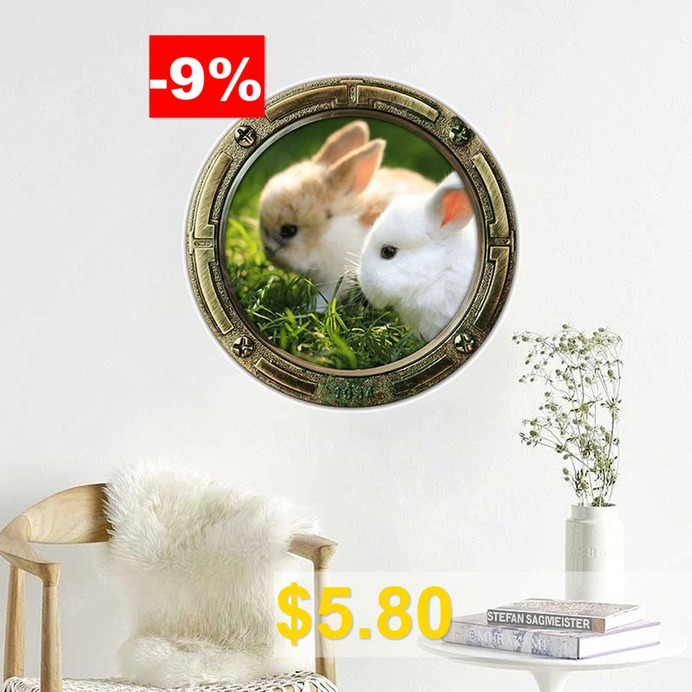 3D #Rabbits #Animal #Wall #Sticker #For #Kids #- #COLORMIX