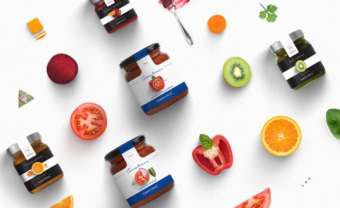 Takk Norge Packaging - Kommigraphics #minimal #structure #grid #canvas #composition #fruits #vegetables #jam #sauce #greek #norway #packagi
