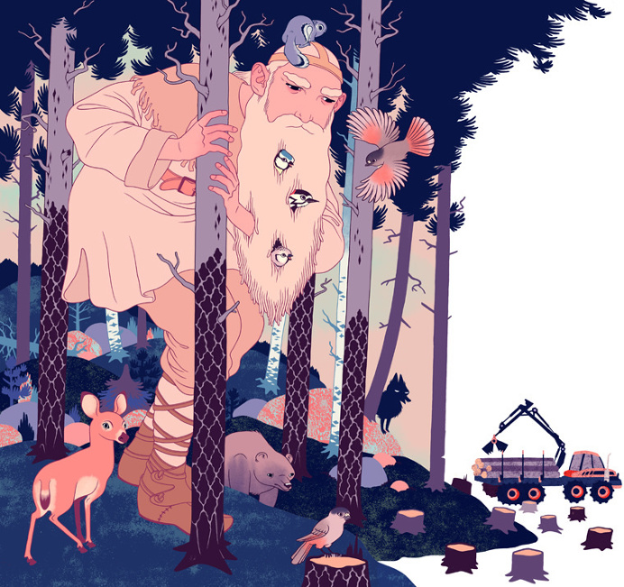 Editorial illustration for the magazine of the Finnish Association for Nature Conservation Luonnonsuojelija. The article covered the history