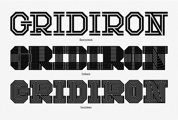 Gridiron: custom typeface family commissioned by ESPN magazine for their 2013 College Football Preview issue. | Behance #fonts #design #graphic #typography