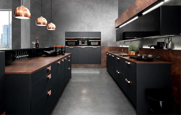Interior Design Trends 2015 The Dark Color Schemes Are Back Topaz Kitchen  Copper Supermatt Black #