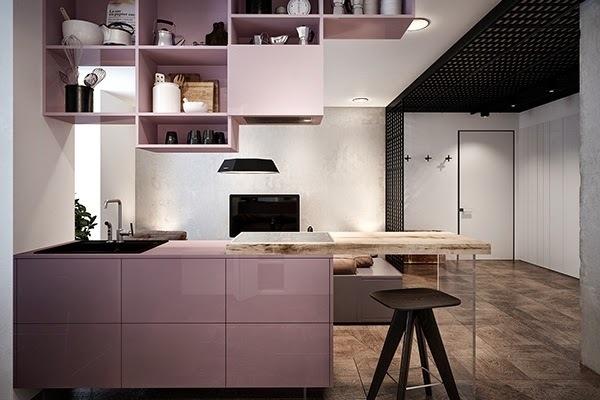 Pink: Minimalist Apartment in Kiev #ideas #kitchen #interiors #hoooooomecom