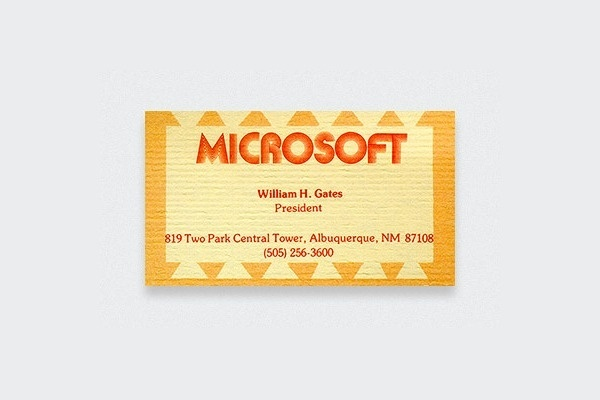 famous business cards collection 4.png #business #gates #card #bill #70s #microsoft