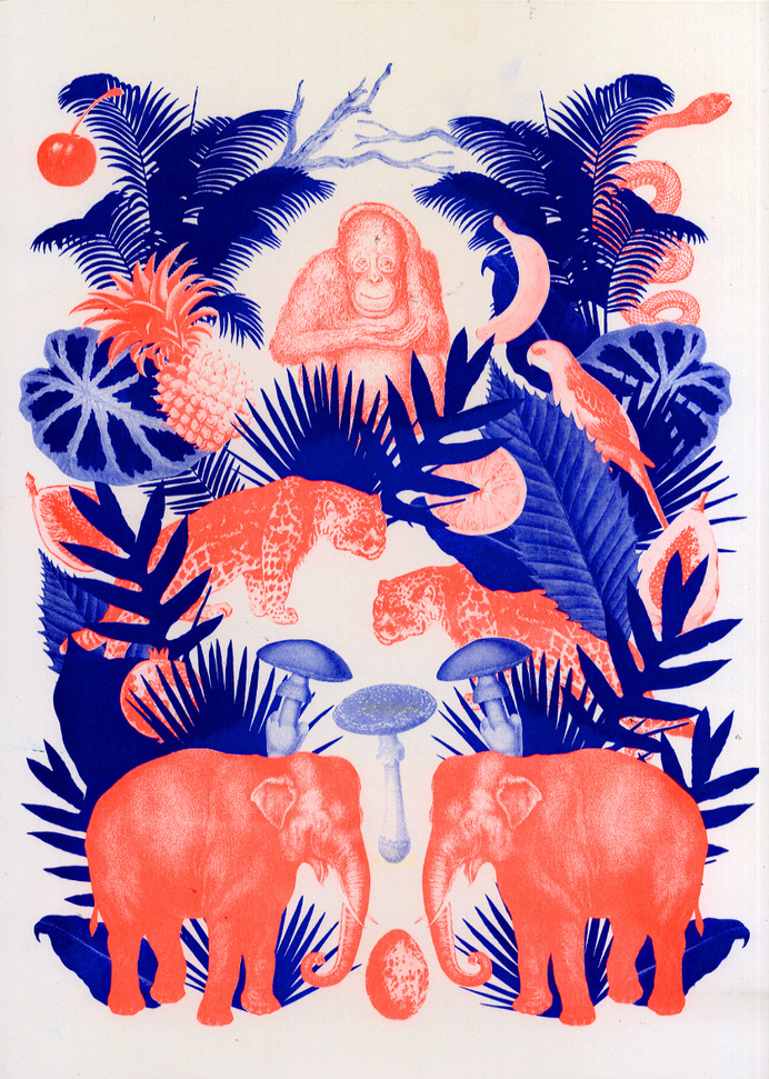 Deep Forest - kellyc Riso Print #illustration