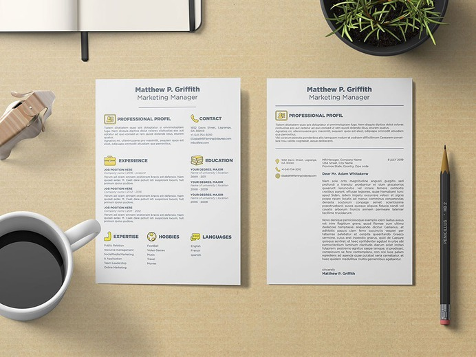 Free Marketing Resume Template with Cover Letter In Word , PSD, INDD & Ai