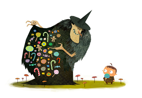 Temptation - Ken Wong #fantasy #vector #child #candy #illustration #witch #character