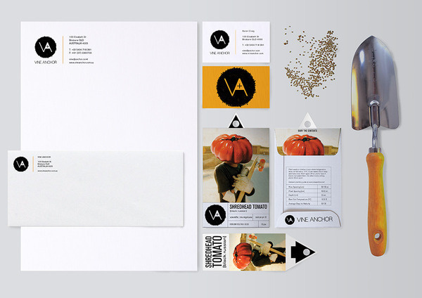 Vine Anchor Aaron Craig #vine #branding #print #design #aaron #monogram #seeds #brand #identity #logo #anchor #craig