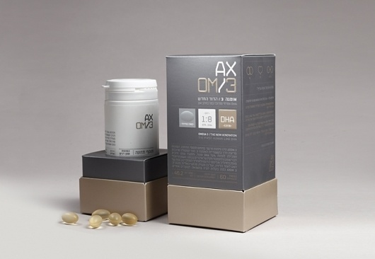 AXOM3Â - TheDieline.com - Package Design Blog #pills #modern #packaging #silver #axom3 #health #metallic #supplement