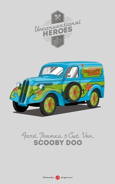 Scooby-Doo, where are you? #unconventionalheroes #movie #ford #van #cwt #gerald #vintage #poster #thames #5 #bear #car