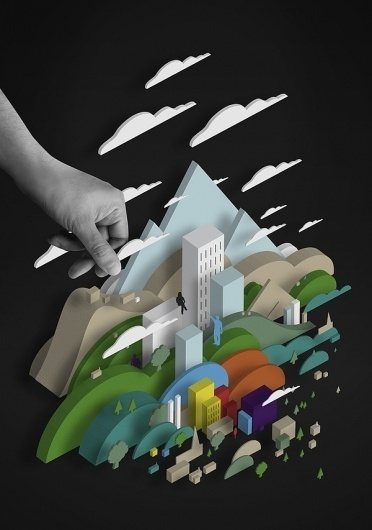 FLUID / POCKO TIMES on the Behance Network #clouds #primary #city #design #colours #black #illustration #poster #hand