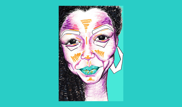 Stephanie for 'Birthday Special' series by Chiamaka Ojechi #illustration #colourful #turquoise #teal #purple #afro #lips #oilpastel #minim