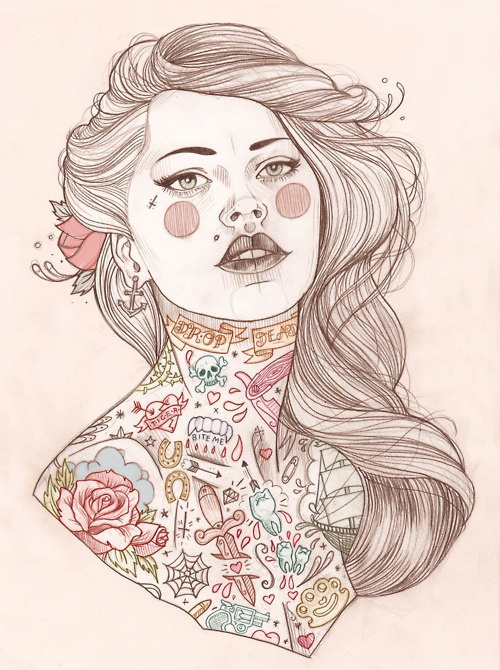 this isn't happiness™ photo caption contains external link #tattos #illustration #woman