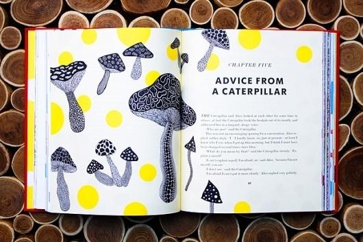 Yayoi Kusama Takes On 'Alice In Wonderland' - DesignTAXI.com #mushroom #in #print #design #graphic #book #alice #illustration #wonderland