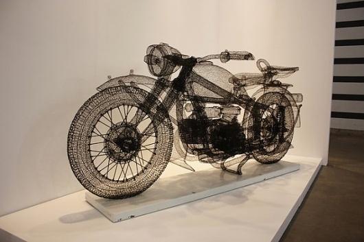 A Peek Inside ART HK 2011   Colossal #sculpture #wire #wireframe #art #motorcycle