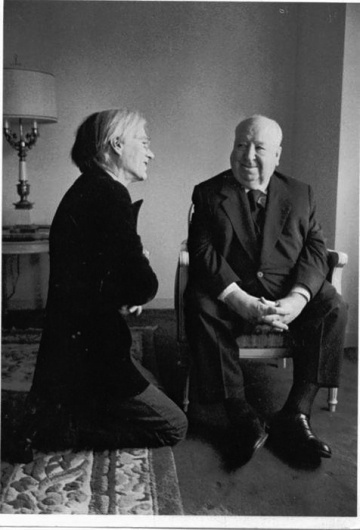 awesome people hanging out together #alfred #andy #hitchcock #warhol