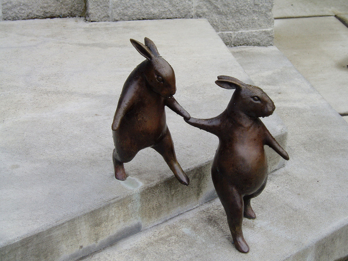 birdcagewalk: Georgia Gerber bronzes (by kiltedlibrarian) #bronze #statue #figure #bunny