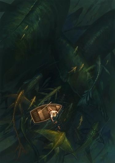 fishing by *sandara #water #monsters #digital #illustration #sea #boat #art #fishing