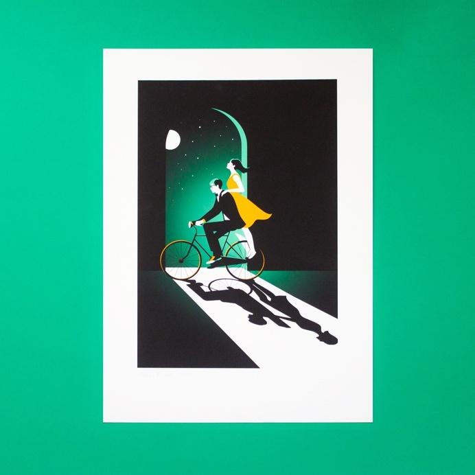 bike, night, illustration, stars, green