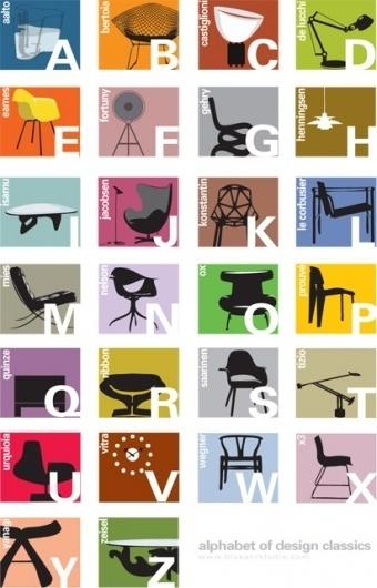 alphabet color | Blue Art Studio #classics #chairs #design #alphabet #typography