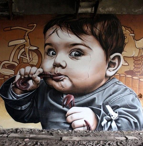 Strange baby by artist Smug One #graffiti #realism #street #art #realistic