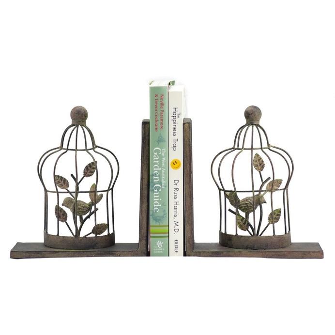 Birdcage Book Ends (pair), 19 cm W x 7 cm D x 18.5 cm H