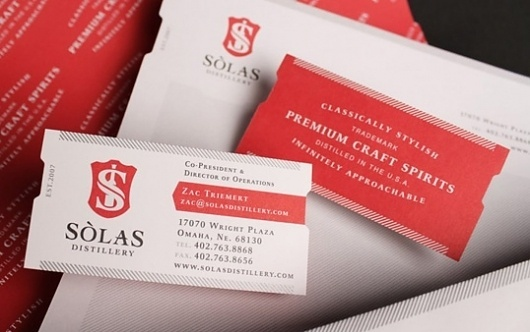 Business Card | Lovely Stationery | Page 19 #red #business #solas #card #distillery #diecut #logo