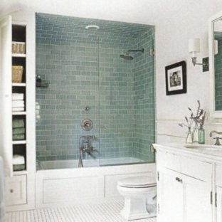 Small elegant kids' white tile freestanding bathtub photo in Phoenix with shaker cabinets, white cabinets, a one-piece toilet, white walls, an undermount sink and engineered quartz countertops