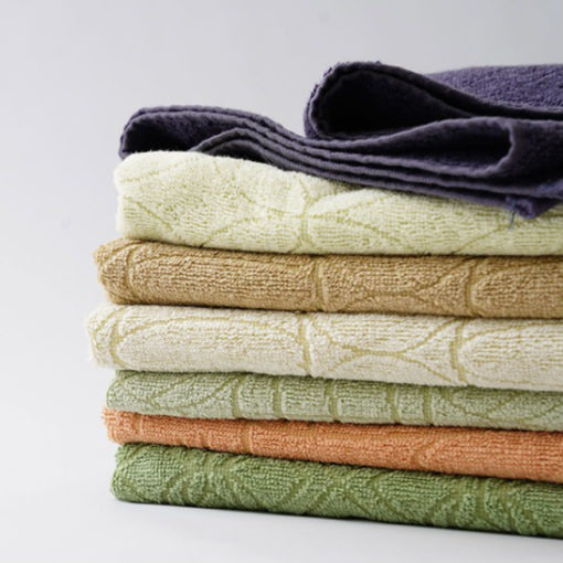 Vegetable-Dyed Towels These Vegetable-Dyed Towels are super absorbent and durable. Dyed using discarded natural produce, they are sustainable and toxin-free. They are great to use in the bathroom and the kitchen. Made in Japan.