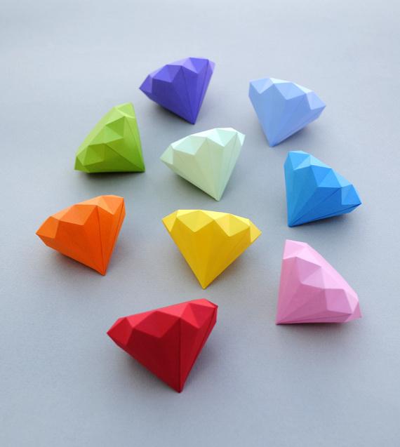3D paper diamonds #diy #diamond #gem #paper