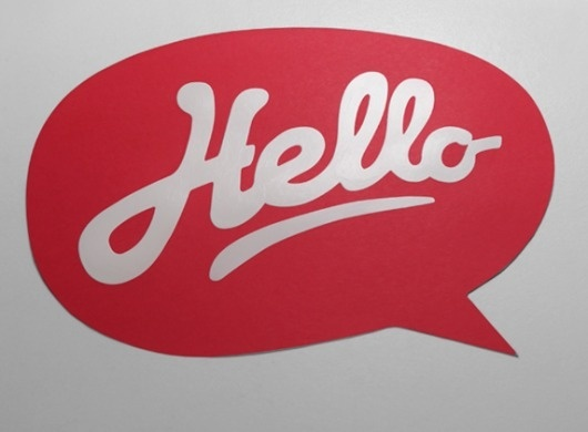mkn design - Michael Nÿkamp #red #bubble #speech #written #hello #type #hand