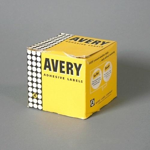 Vintage Avery Adhesive Labels Packaging #modern #packaging #serif #yellow #sans #box #mid #vintage #century