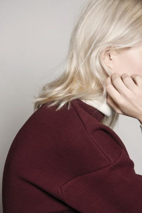 Rue Blanche AW14 collection #woman #minimalism #hair #listening #portrait #blonde #sweater