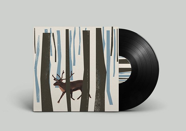 Off Record on Behance #album #deer #montage #noa #record #vinyl #illustration #nature #stain #music #joy #forest #collage #animal #emberson